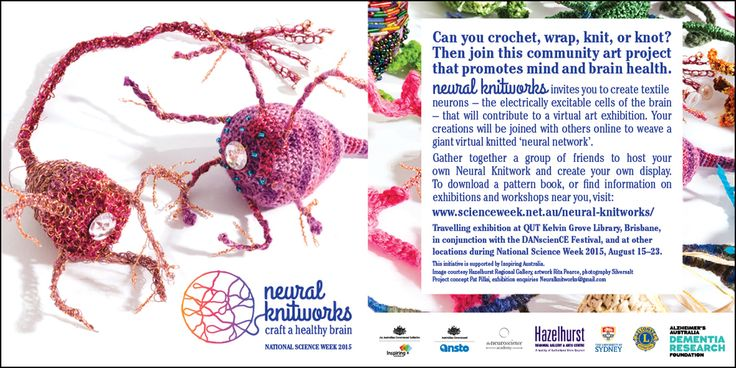 Students and staff had fun making knitted, wrapped, and crocheted neurons for National Science Week at QUT Kelvin Grove Library.