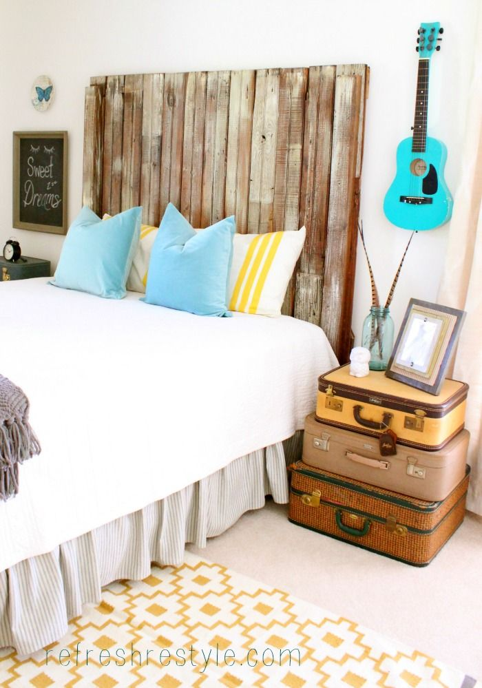 Bedroom makeover: diy repurposed and painted furniture before and after.. guest bedroom headboard wood idea or just wood on wall idea for back of sitting room