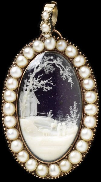 1798 Mourning pendant, England, Great Britain:  Gold, enamel, pearl, ivory, and glass.