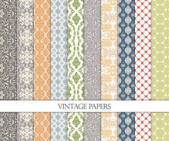 Vintage Digital Paper-Damask Digital Paper-Vintage Background