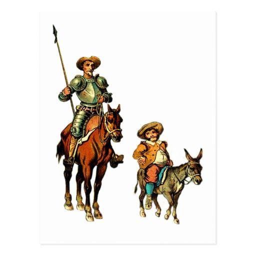 don quichotte | Don don Quichotte et Sancho Panza Cartes Postales | Zazzle