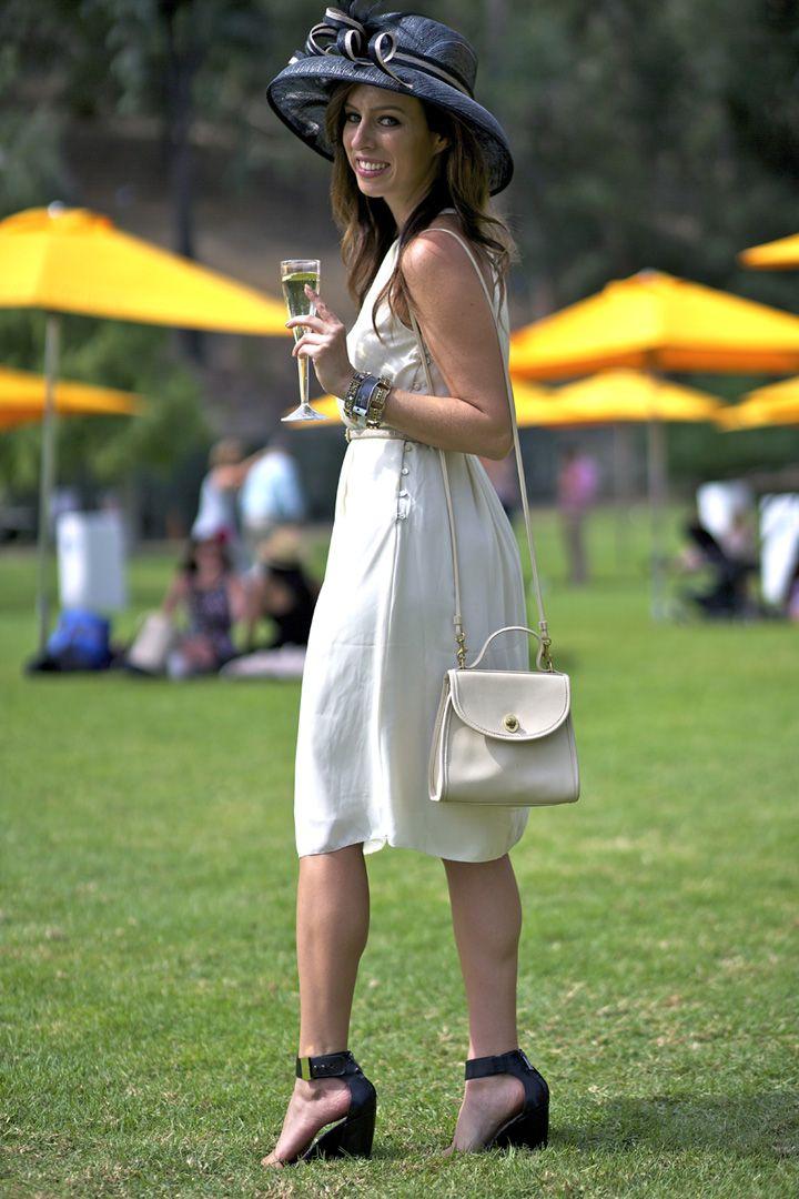 Veuve Clicquot polo match H&m dress Coach bag cream dress trend