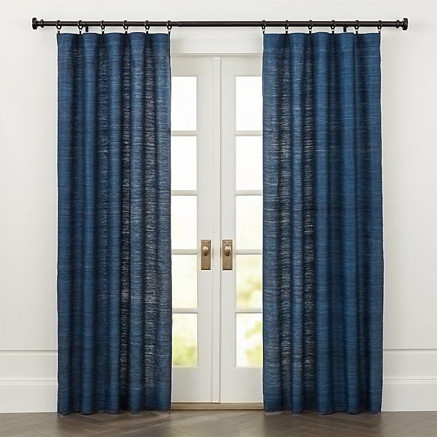 Silvana Blue Silk Curtains | Crate and Barrel
