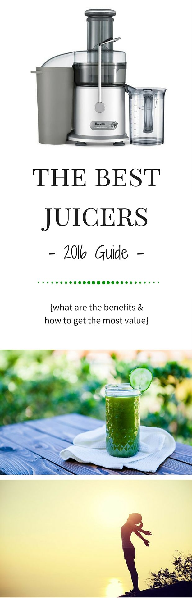 We absolutely love juicing! This guide is intended to give you a good overview of the best juicers on the market in each of the 3 categories to get you the most value for your money.