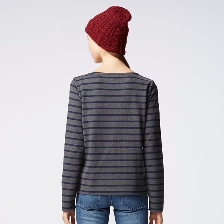 WOMEN STRIPED BOAT NECK LONG SLEEVE T-SHIRT