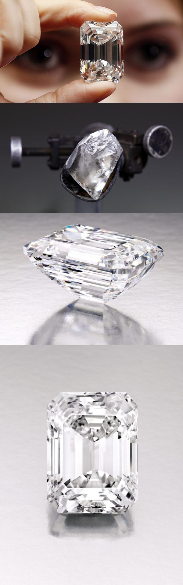 "D, IF 100 carat ""Ultimate Emerald-Cut Diamond"" to be sold Sotheby's New York - ""a pool of icy water."" Mined in southern Africa by De Beers, born from a rough over 200 carats. Over a year was spent cutting and polishing the diamond to its perfect state."