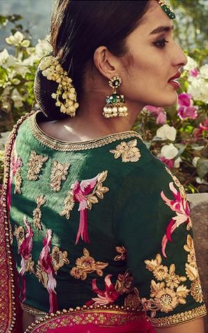Green Pink Latest Lehenga Designs With Price
