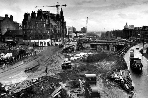 FINE SITE: Work on the construction of the M8 through the Charing Cross area of Glasgow in the 1960s.