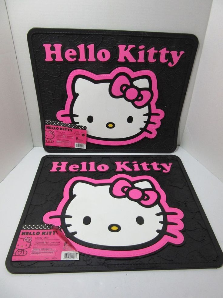 Hello Kitty Utility Rear Floor Mats Car Truck RV Boat Kitchen Home set of 2 NWT #PlastiColor