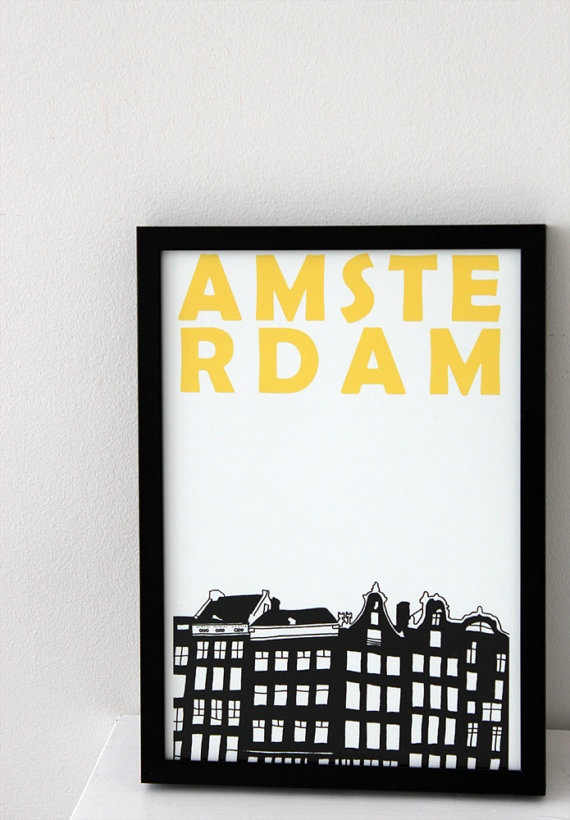 Amsterdam  Print  8x11 A4 size by illuminantpale on Etsy, $17.00