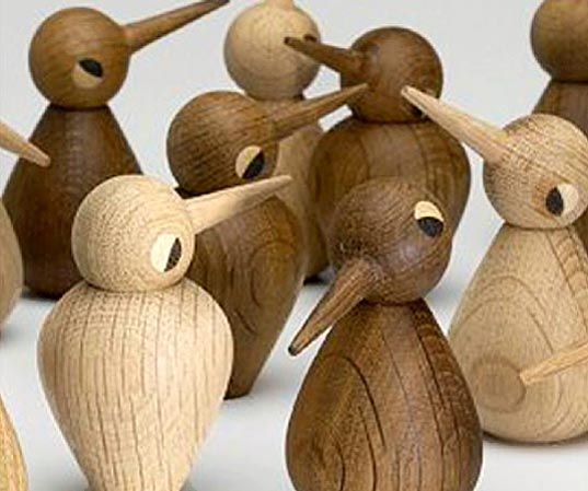 Architect-designed wooden birds by Kristian Vedel