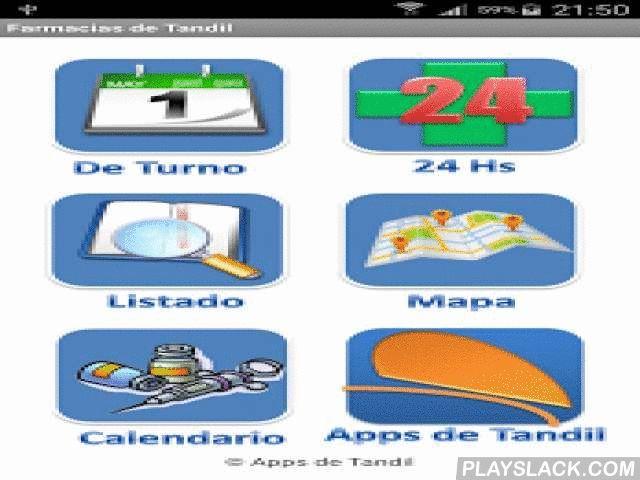 Farmacias De Tandil  Android App - playslack.com ,  Versión 13.0 Aplicación Gratuito para conocer al instante las Farmacias de Turno de Tandil.AHORA DISPONIBLE CON NUEVA VISTA EN MAPA Y CON BASE DE DATOS DE TURNOS ACTUALIZADA POR TODO EL 2016.La Aplicación nos muestra las farmacias de turno al momento de la consulta y también nos da información sobre todas las demás farmacias que hay en Tandil.Haciendo clic en la dirección desde la tabla o desde el mapa, nos deriva a Google Map para poder…