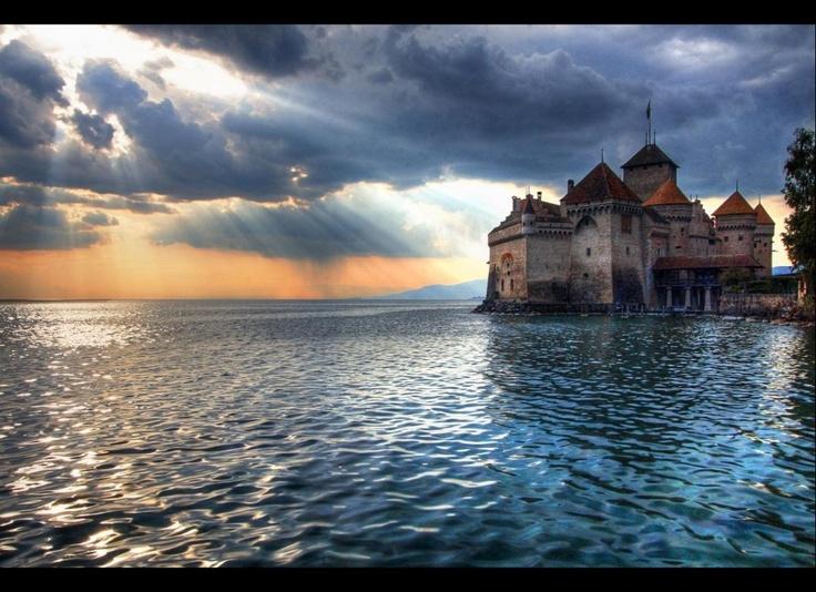 Lake Geneva, Switzerland: Chillon, Romantic Travel, Lakes Geneva, Lord Byron, Romantic Places, Magic Places, Geneva Switzerland, Chateau, Travel Destinations