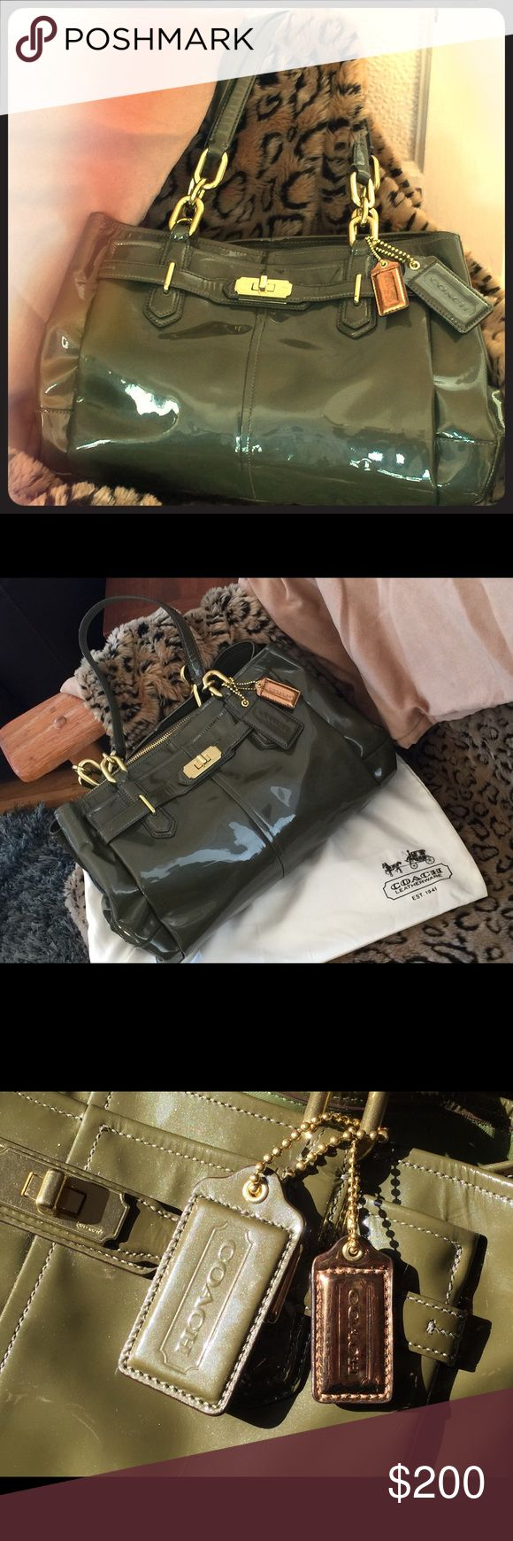 Coach Olive Green Handbag Olive green patent leather Coach handbag with gold hardware. Excellent condition. Zipper middle section with magnet closure side sections. Coach Bags Satchels