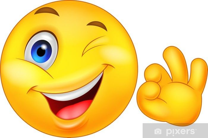 Smiley Emoticon With Ok Sign Wall Mural Pixers We Live To Change In 2020 Emoticon Smiley Emoji Images
