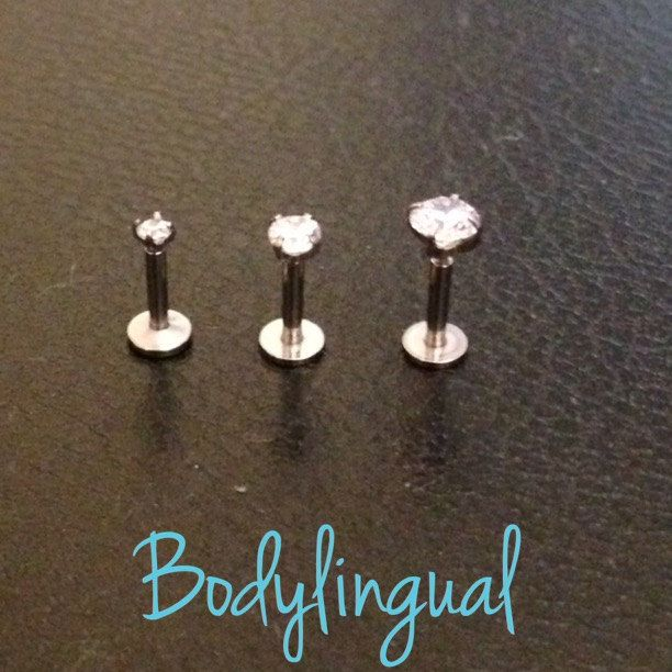3pcs 316L Surgical Stainless Steel Internal Thread Clear Gem Labret, Triple Helix, Monroe, Lip, Spider Bite, Body Jewelry, Piercing by Bodylingual on Etsy