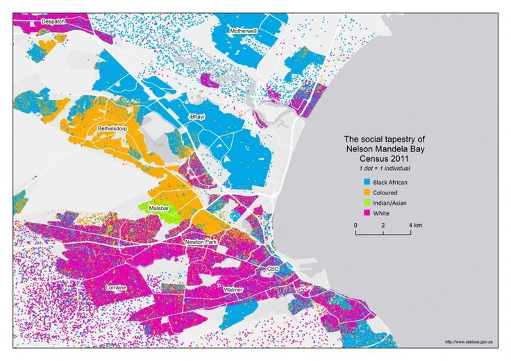 Mapping diversity: an exploration of our social tapestry These maps show, in a powerful way, the patterns of racial neighbourhood integration and segregation across South Africa's largest cities.