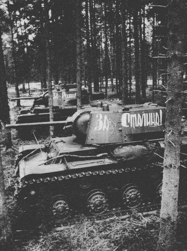 KV-1 Tanks of 145th Armored Brigade in the woods before the fight. Western Front.