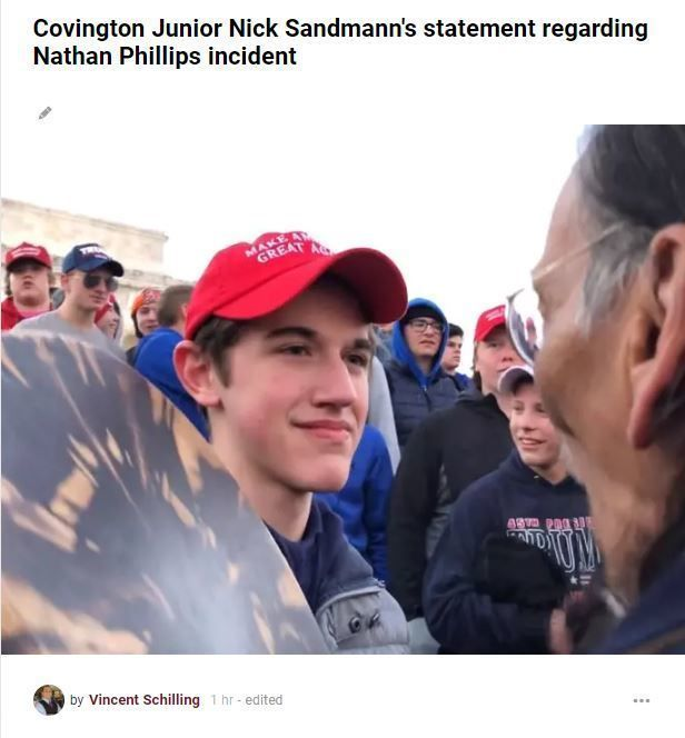 Statement Of Nick Sandmann Covington Catholic High School Junior