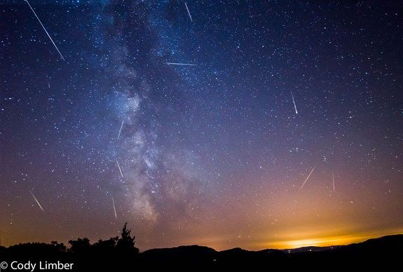2013 Perseid Meteors Over Orcas Island, WA | Astrophotographer Cody Limber sent in a photo of some early Perseid meteors that he caught from his deck on Orcas Island in Washington. The shot combines images taken over the course of four days in August 2013.
