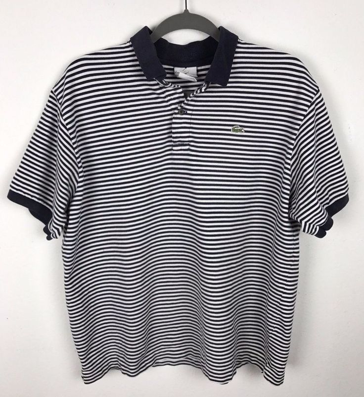 Lacoste Polo Shirt Mens Size 7 XL Navy Blue White Alligator Rugby Striped #Lacoste #Rugby