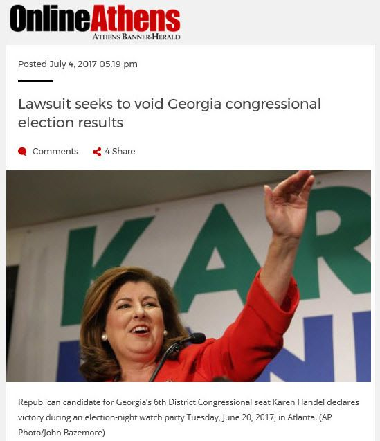 """""""Lawsuit seeks to void Georgia congressional election results"""" 