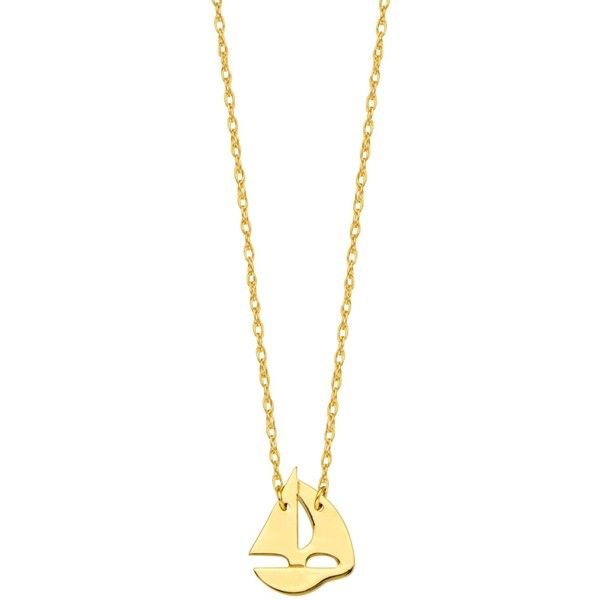 14k yellow gold mini sailing boat pendant necklace, 16 to 18 inches... (1.550 DKK) ❤ liked on Polyvore featuring jewelry, necklaces, gold rope chain necklace, yellow gold pendant necklace, 14k gold pendants, gold necklace and 14k gold necklace