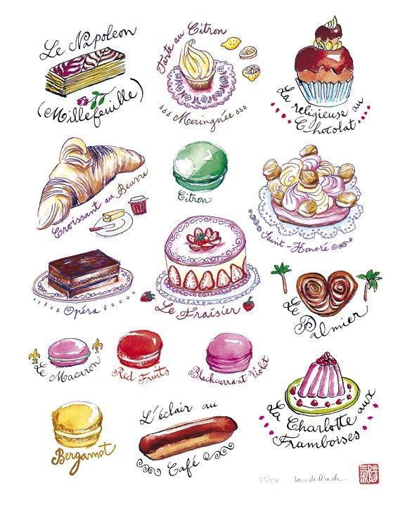 French pastries, cake print, food art, kitchen decor, watercolor 8X10 poster. $25.00, via Etsy.