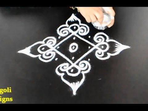 easy rangoli designs with 5 to 1 straight dots || simple rangoli designs with dots || simple muggulu - YouTube