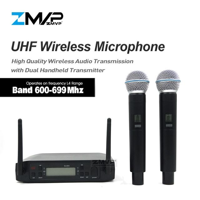 Zmvp Professional Glxd4 Beta58 Uhf Live Vocal Karaoke Wireless Microphone System With Dual Handheld Transmitter Mic 600 699 Mhz Microphone Transmitter Karaoke