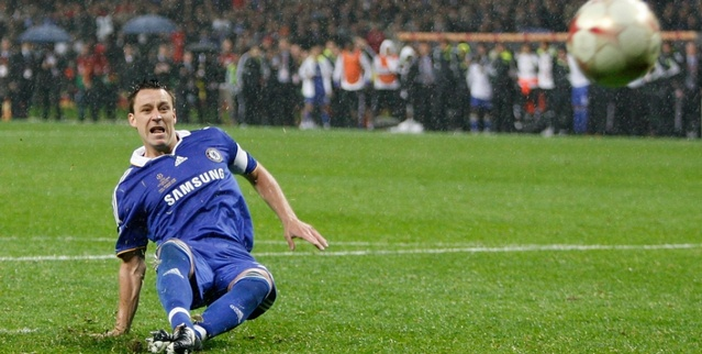 The most painful moment for everyone at Chelsea, when Terry slipped while attempting his penalty shootout shot and missed at the 2008 Champions League Finals against Manchester United at Moscow! It still hurts!