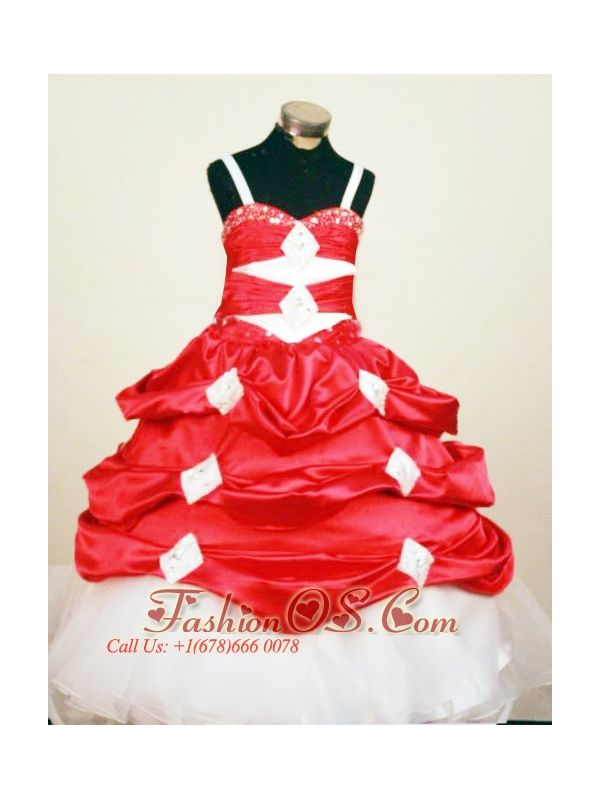 Perfect Red and White Spaghetti Straps Little Girl Pageant Dresses With Pick-ups In 2013- $132.59  http://www.fashionos.com  http://www.facebook.com/quinceaneradress.fashionos.us  Adorned by layers of pick ups front and back and the appliques, the skirt gives you a look of elegance and magnificence. The corset back completes the look.