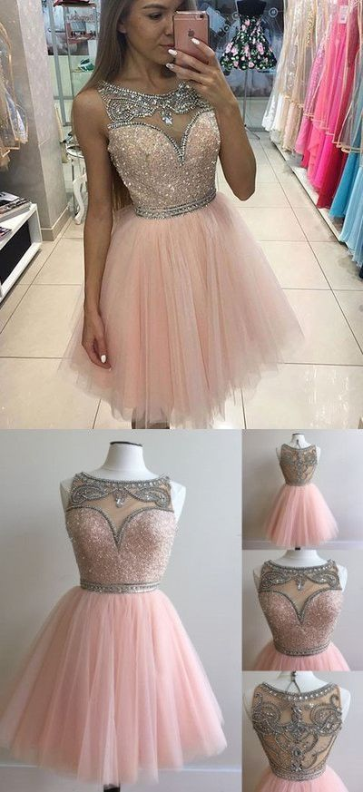 Tulle Prom Dress,Short Prom Dresses,Sleeveless Elegant Prom Gown