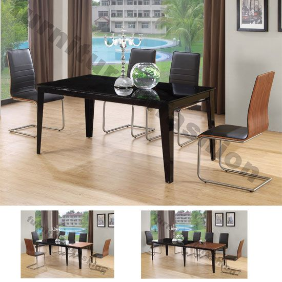 Rubix Extending Black Walnut Dining Table With 6 Chairs