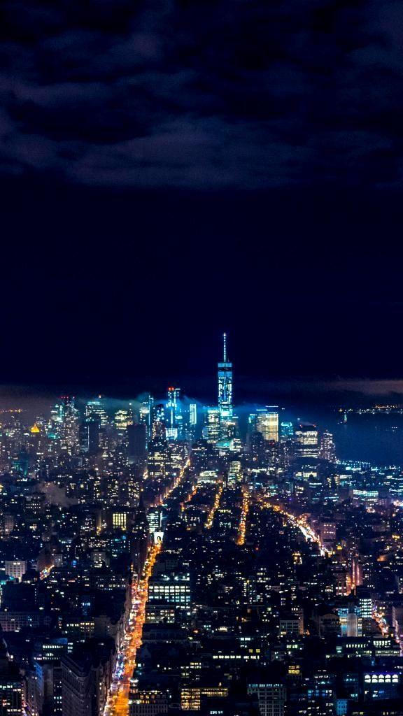 Iphone X Wallpaper 4k New York Trick In 2020 Night Skyline City