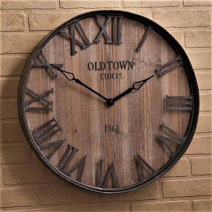 Wood and Iron Wall Clock Round