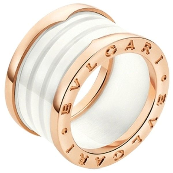bvlgari four band 18 kt rose gold and white ceramic ladies ring size 9