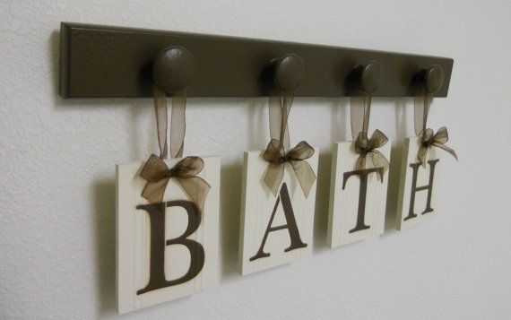 Wood Words BATH Sign Custom Hanging Letters Set Includes Wooden Peg Display Letters Painted Chocolate Brown. Restroom Wall Decorating Idea.