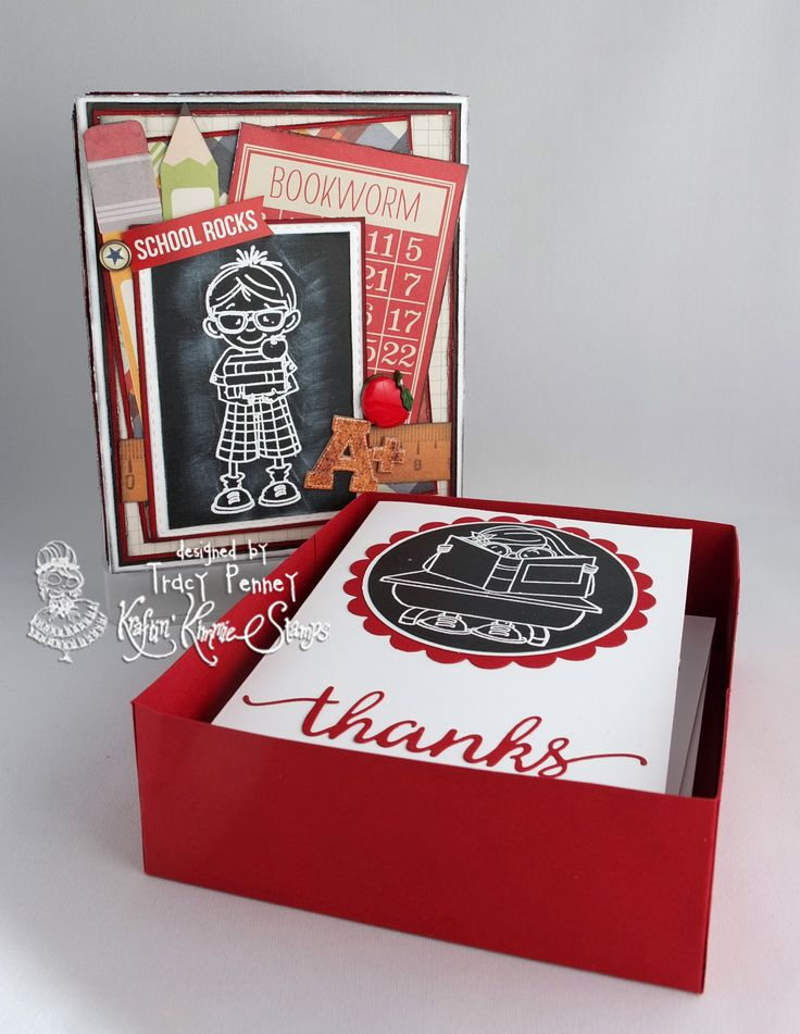 Gift box with note cards: Stamp: Smarty Pants (Kraftin' Kimmie stamp) http://www.kraftinkimmiestamps.com Paper: Simple Stories Smarty Pants