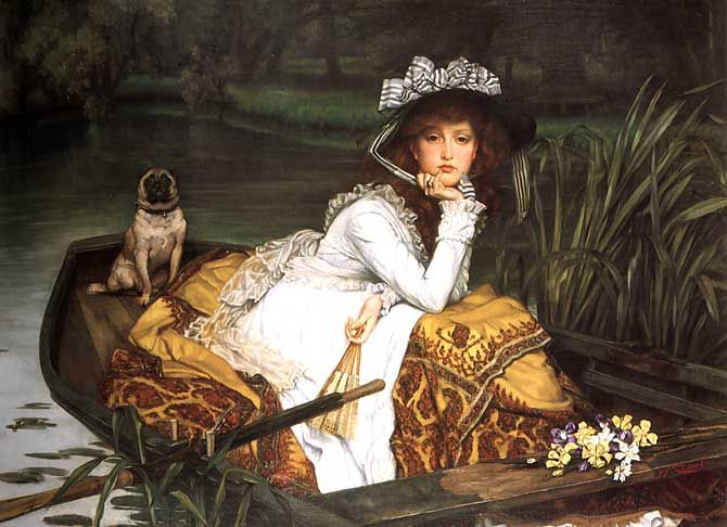 Young Lady In A Boat, 1870 by James Tissot. Realism. genre painting. Private Collection