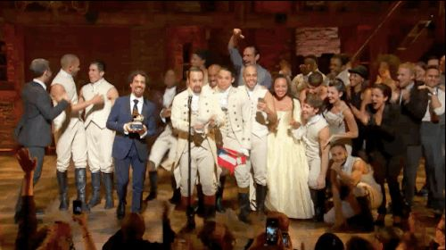 Pin for Later: From Taylor Swift's Freakout to Chrissy Teigen's Dance Moves, See All the Best Grammys Moments The cast of Hamilton won best musical theatre album, and also America's hearts.
