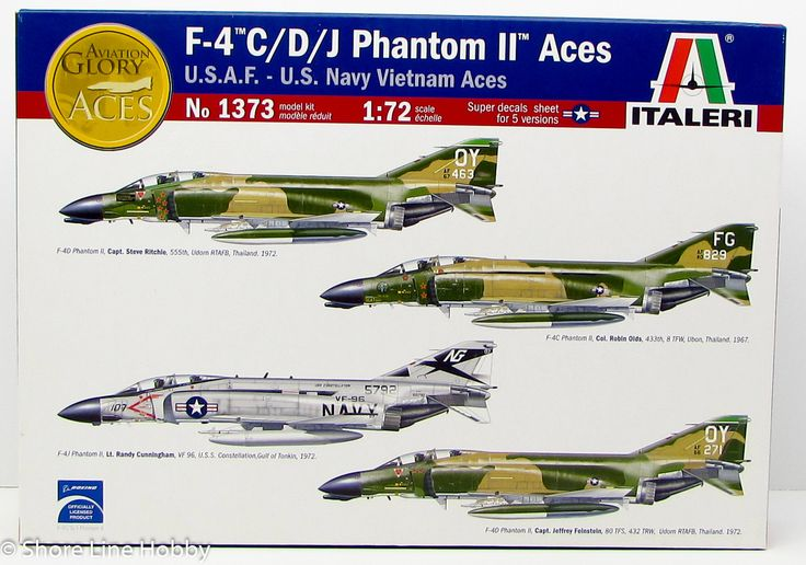 Italeri F-4 C/D/J Phantom II Vietnam Aces 1373 1/72 New Airplane Plastic Model Kit