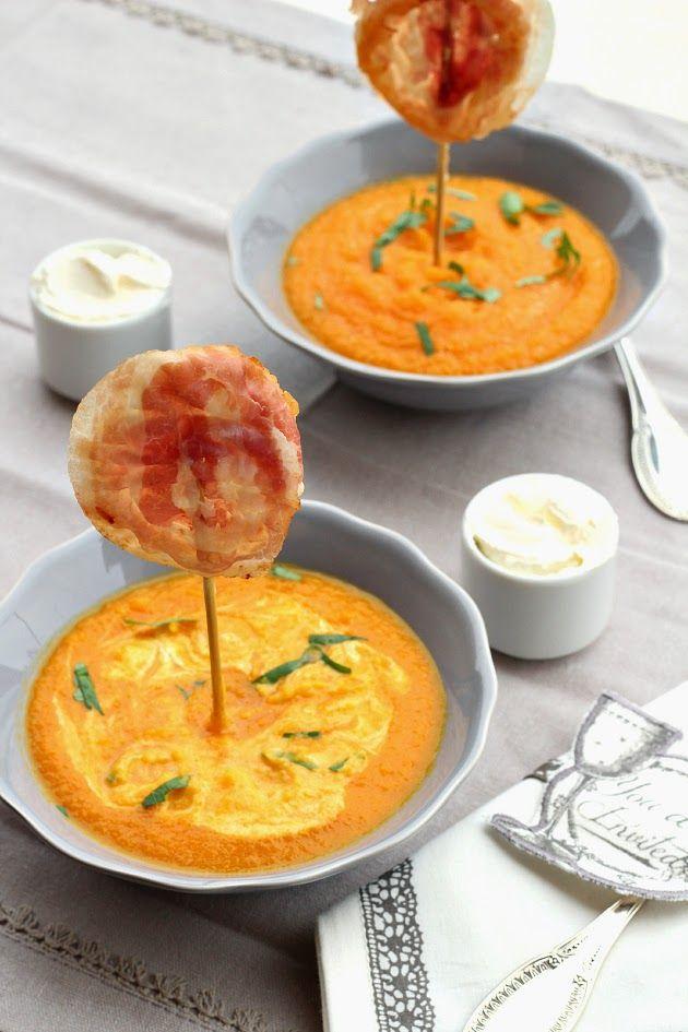 Vellutata di carote con lollipops di pancetta