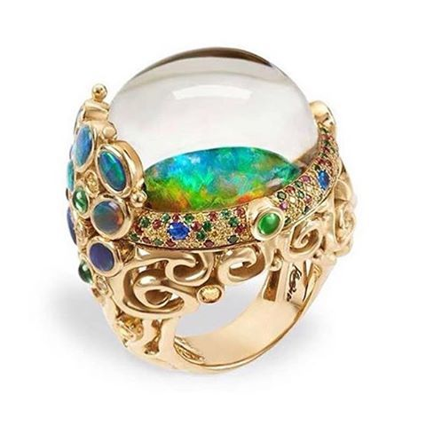 Medusa Moon Jellyfish ring with black Australian opal, sapphires, tsavorites, hauyne and rock crystal, by Temple St.Clair. #templestclair #jewels #jewelry #jewellery #jewelryblog #jewelryblogger #jewelrydesigner #jewelrydesign #jewelryaddict #design #designer #fashion #love #fashionblog #fashionblogger #fashionjewelry #ring