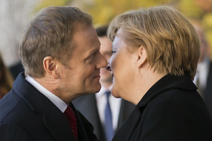 Kiss and sell: Polish Prime Minister Donald Tusk and Merkel in Berlin, November 2012.