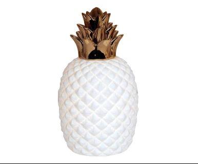 Lampada da tavolo in ceramica bianco e oro Ananas