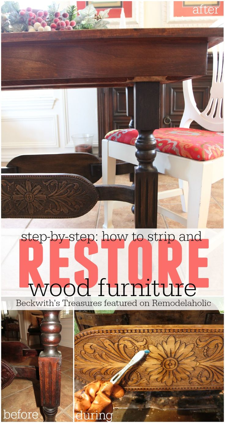 How to Strip and Restore Wood Furniture - Beckwith's Treasures featured on @Remodelaholic #refinish #vintage
