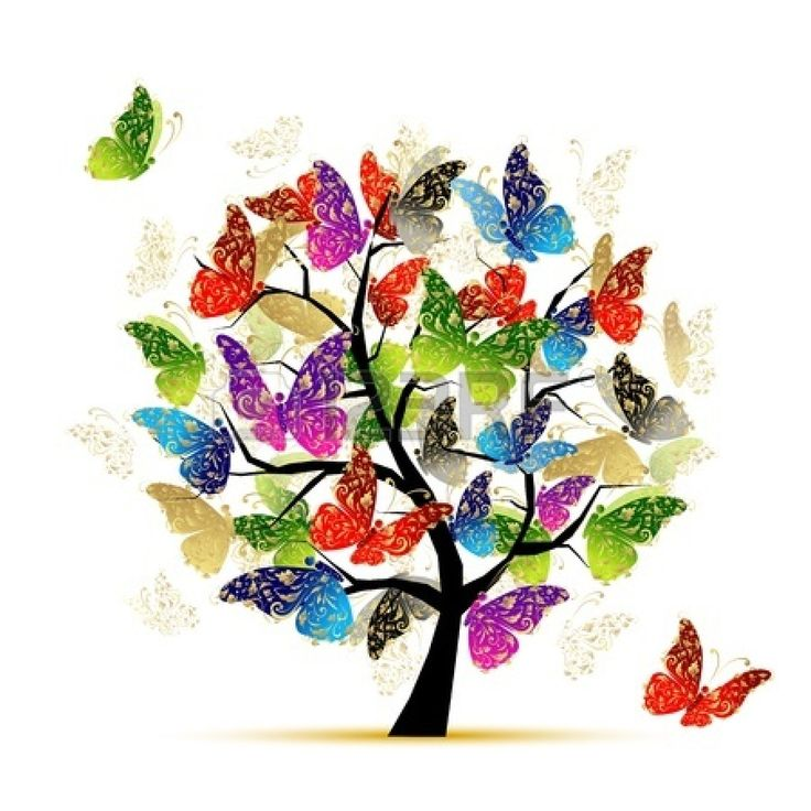 Art tree with butterflies for your design Stock Vector