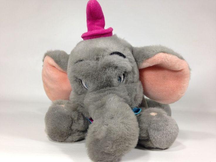 "Walt Disney Elephant DUMBO Plush Gray Stuffed Animal Grey Bean Bag Toy 12"" Layin #Disney"