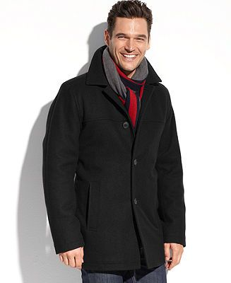 Tommy Hilfiger Big and Tall Coat, Melton Wool-Blend Walking Coat - Coats & Jackets - Men - Macy's